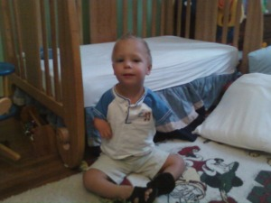 First Day of School - Fall 2011 - This was Drew's natural position of his legs.  He pretty much couldn't get his legs to extend any further than what you are seeing here.