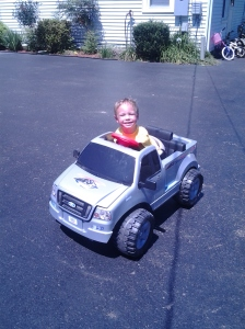 He hasn't been able to drive hos beloved Power Wheels truck since all of this began.  But he finally can!