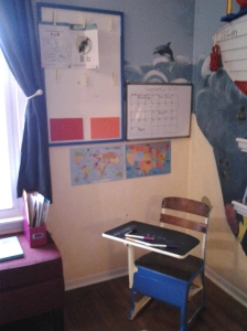 Drew's DIY school corner where he does his homework.