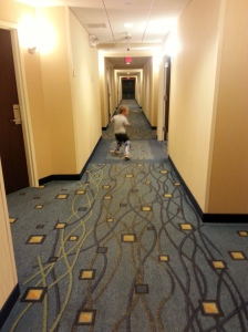 "What do you do when you're seven and walking in a hotel with tacky carpeting? Play ""Dodge the squares"" of course!"